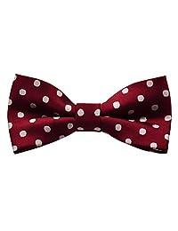 Alizeal Boy's Kids Polka Dot Pre-tied Bow Tie (Maroon)
