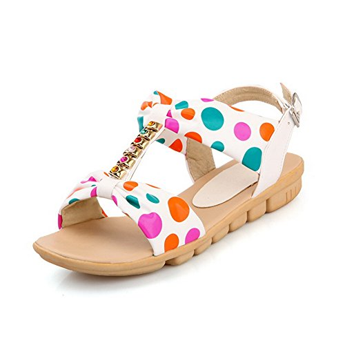 VogueZone009 Womens Open Toe Flats PU Soft Material Dots Sandals with Assorted Colors White Ni6YHI