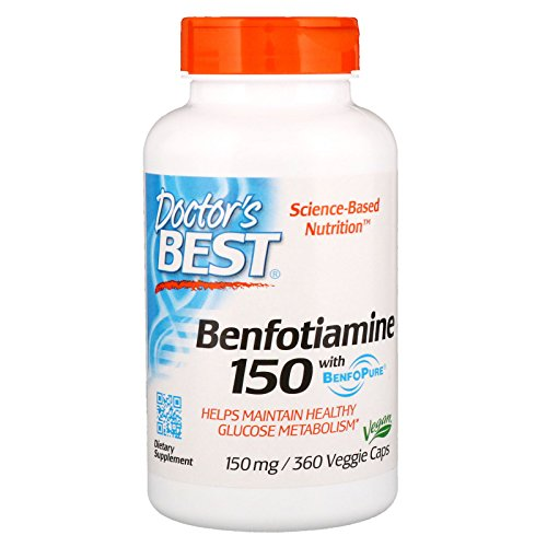 Doctor's Best Benfotiamine, Non-GMO, Vegan, Gluten Free, Soy Free, Helps Maintain Blood Sugar Levels, 150 mg, 360 Veggie Caps