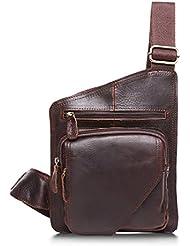 Mayshe Mens Crazy Horse Leather Shoulder Chest Satchel Sling Bag Backpack Crossbody Riding