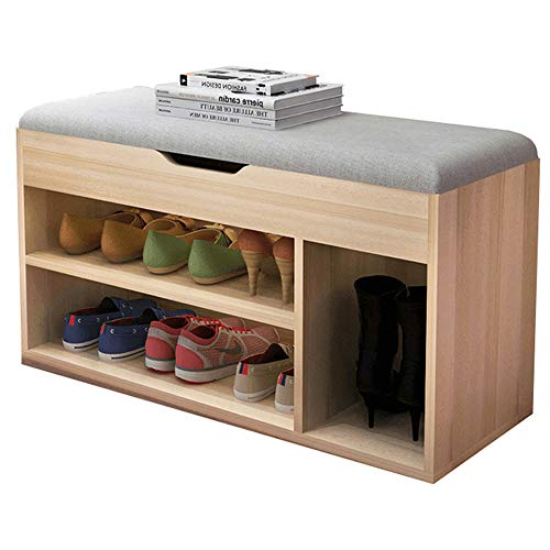 FKUO Shoe Rack Bench Double-Layer Storage Cabinet,Shoe Organizer,Storage Shelf,Holds Up to 150KG,Ideal for Entryway Hallway Bathroom Living Room and Corridor(80cm, Sakura Maple Wood Gray B)