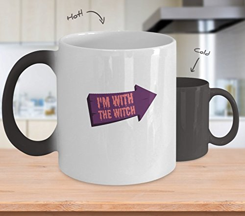 Color Changing Mug I'm With The Witch Halloween Couples Costume Heat Colour Change Mug Gift]()