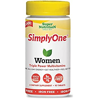 SuperNutrition SimplyOne Women's Once Daily, All-In-One Multivitamin, Iron-Free, 90 Count