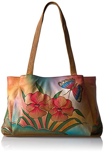 Anuschka Handpainted Large Shopper, Flb-Floral Butterfly