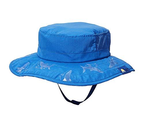 Sun Protection Zone Kids UPF 50+ Safari Sun Hat, Blue Sharks, Uv Sun Protective, Lightweight, Velcro Straps, One Size ()