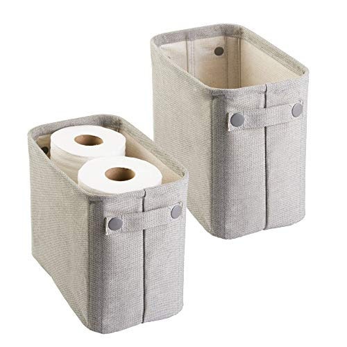 mDesign Soft Cotton Fabric Bathroom Storage Bin Basket with Coated Interior and Attached Handles - Organizer for Closets, Cabinets, Shelves - Pack of 2, Rectangular with Textured Weave, Light Gray