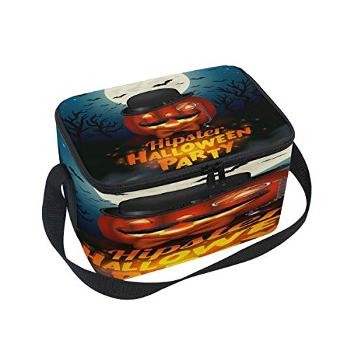 Use4 Hipster Halloween Pumpkin Insulated Lunch Bag Tote Bag Cooler Lunchbox -