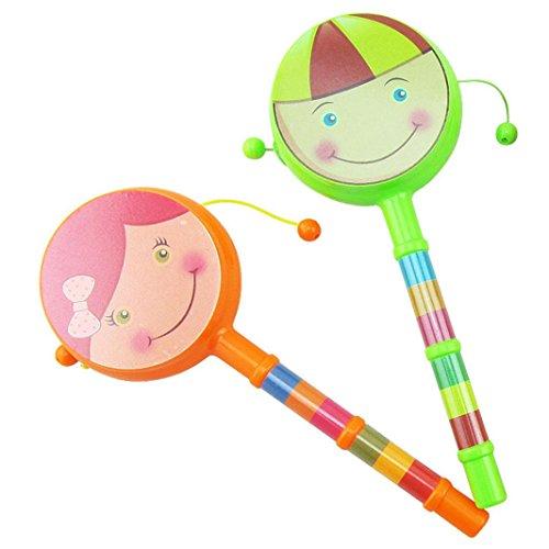 Sujing 2pcs Kids Baby Cradle Music Shake Toys Baby Rainbow Handle Bells Rattles Kids Children Learning Fun Musical Toy ()