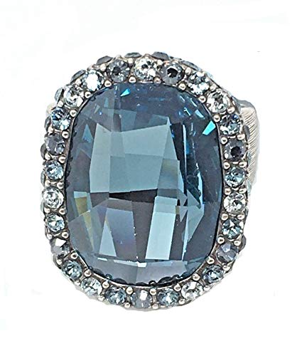 Brighton Collectibles Contessa Blue Swarovski Crystal Statement Ring Size 5 ()