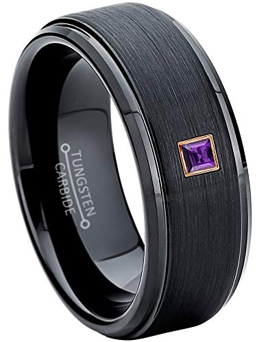0.05ctw Solitaire Princess Cut Amethyst Tungsten Ring - 8MM Brushed Stepped Edge Black Tungsten Carbide Wedding Band - February Birthstone Ring - -