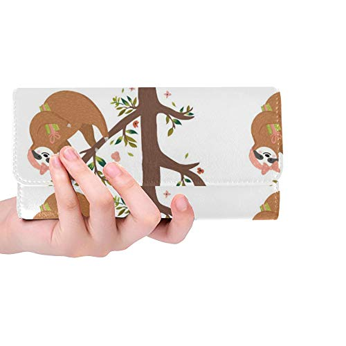 Unique Custom Vector Seamless Pattern With Cute Baby Sloth Women Trifold Wallet Long Purse Credit Card Holder Case Handbag