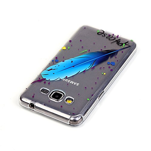 XiaoXiMi Funda de Silicona para Samsung Galaxy Grand Prime G530 Carcasa Transparente Soft Silicone Cover Clear Case Funda Protectora Carcasa Blanda Caso Suave Flexible Caja Delgado Ligero Casco Anti R Pluma Azul