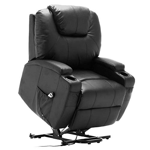 TANGKULA Massage Recliner Chair, with Electric Lift Power, Ergonomic Leather Massage Sofa for Home Office Theater, with Remote Control, 5 Heat & Massage Modes, Side Pockets, Cup Hold