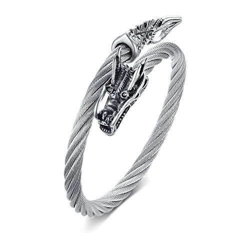 MP Men's Stainless Steel Cable Wire Chinese Dragon Twist Cuff Bangle Bracelet Punk Rock Biker Silver