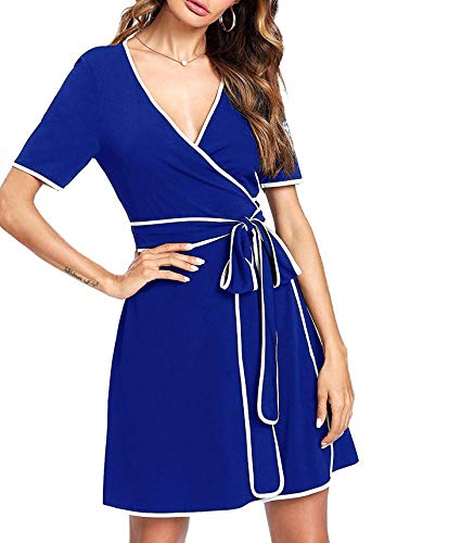 Heaven Embroidered Tunic - AYCGBHU Women's Floral Embroidered Round Neck Flutter Sleeve Tunic Dress,X-Small,Blue-7