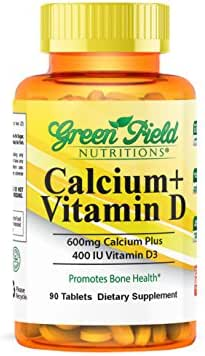 Greenfield Nutritions, Calcium 600 mg with Vitamin D3 400 IU, Halal Vitamins, 90 Tablet