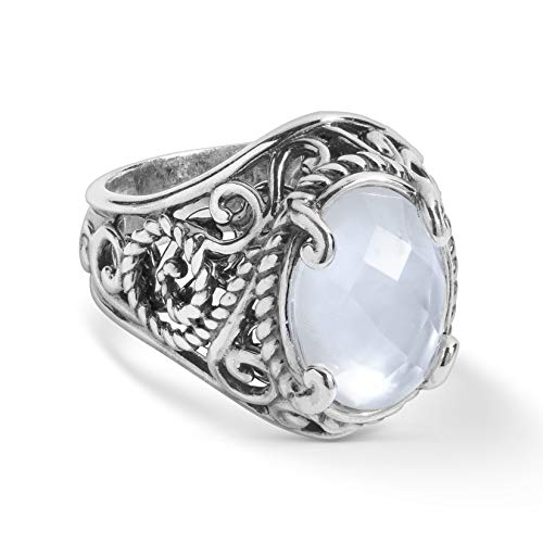 - Carolyn Pollack Sterling Silver White Mother of Pearl Doublet Ring Size 5