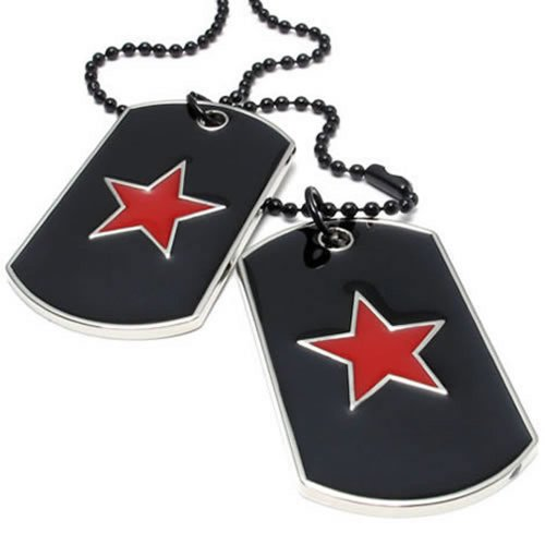 KONOV Army Style 2pcs Red Star Dog Tag Pendant Mens Necklace, Red Black, 27 inch Black (Star Dog Tag Pendant)