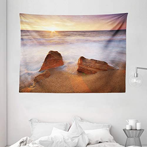 Ambesonne Beach Tapestry, Fantasy Seascape in Exotic Hawaiian Water Sea Sky Peace Relax Theme in Nature Print, Wide Wall Hanging for Bedroom Living Room Dorm, 80 X 60 , White Cream