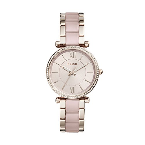 (Fossil Women's 'Carlie' Quartz Stainless Steel Casual Watch, Color:Pink (Model: ES4346))