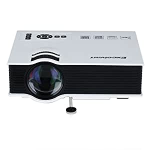 Excelvan UC40 - HD Mini LED Proyector Portátil Multimedia Cine Teatro (800 Lumenes, 800x480RGB, 1080HD, 4:3 16:9, 800:1, 1.07M Mini distancia, Altavoz, Batería Externa, Interfaces AV, VGA, USB, SD, HDMI, Compatible con Smartphone, Cámara y Laptop) Blanco