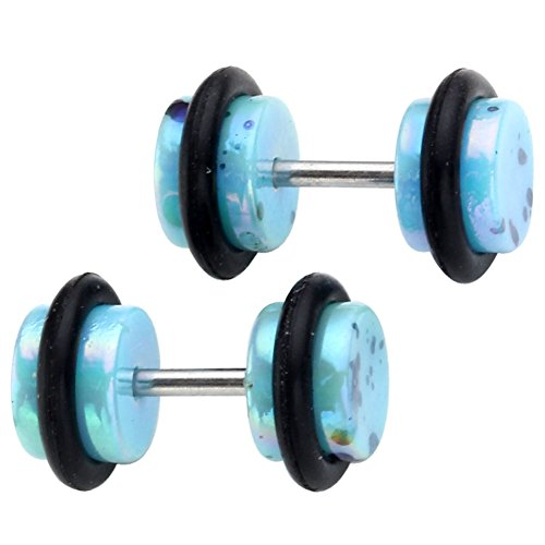 Top Plaza 6mm Pair Colorful Spot Barbell Fake Cheater Illusion Ear Plugs Earring Body Piercing (Light (Cheater Ear Plugs)