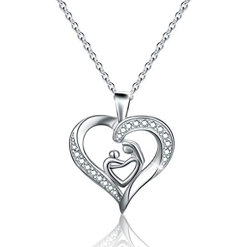 Esberry✦18K Gold Plated 925 Sterling Silver Necklace Pendant 5A Cubic Zirconia CZ Love Heart Shape Pendant with Necklaces for Women (No Lettering)