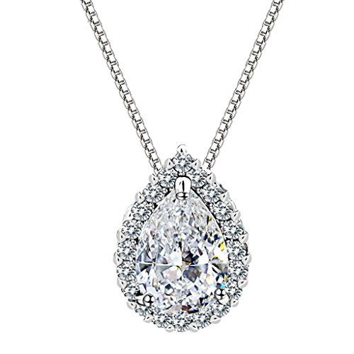 KnSam Necklace Jewelry for Women Women White Gold Plated Women Pendant Necklace White 3-Prong Teardrop Pave Crystal Pear 10.6x14MM