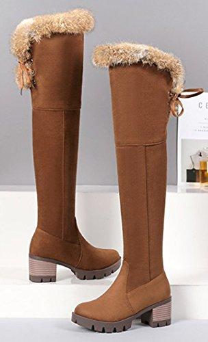Hiver Genou Bottes Aisun Chaud Cuissardes Chaussures Femme Brun De w1gpaq