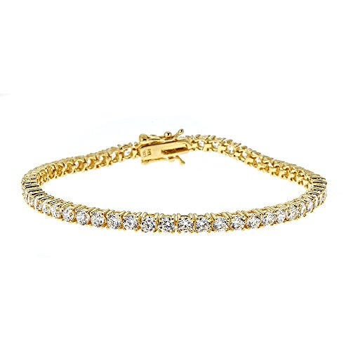 Gold Bracelets Gemstone Tennis (AceLay 925 Sterling Silver Gold Tone Womens Classic Tennis Bracelet Round Cut Cubic Zirconia CZ Stones Size 6.5' 7' 8' (8))