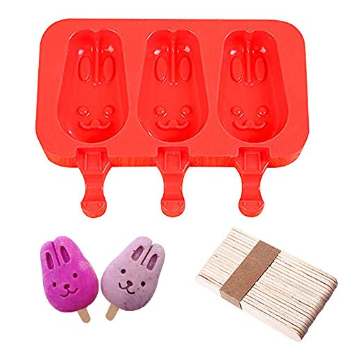 DiDaDi Silicone ICE POP Mold, 3 Cavities Cute ICE CAREM Bar Mould,Popsicle Molds DIY ICE Cream Maker,Silicone Jelly Chocolate Candy Soap Molds with 20 Wooden Sticks - Bunny