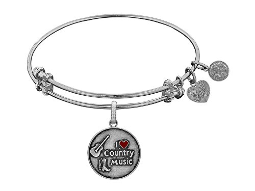 Brass with White Finish I Love Country Music Enamel Charm for Angelica Collection Bangle