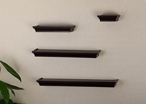 V-LIGHT Set of 4 Traditional Wood Wall, Espresso Finish (VS141003E) Decorative Shelving,