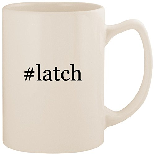 #latch - White Hashtag 14oz Ceramic Statesman Coffee Mug Cup