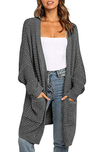 ZESICA Women's Long Batwing Sleeve Open Front Chunky Knit Cardigan Sweater with Pockets