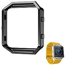For Fitbit Blaze Watch,Haoricu Luxury Stainless Steel Watch Replace Metal Frame Watch Holder (Black)