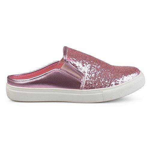 Sneaker Brinley Co Glitter Donna In Ecopelle Rosa