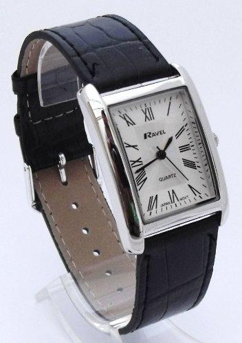 Ravel R0121.04.1 - Reloj de hombre rectangular con números romanos y correa larga (