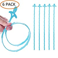 ANSLYQA Drain Snake Hair Clog Remover Clogged Drain Cleaning Tool for Sink and Bathtub,20 inch Blue,6-Pack