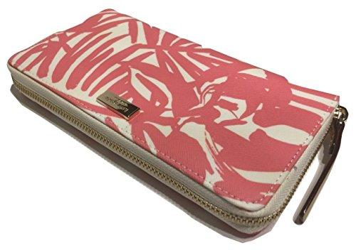 Kate-Spade-Grant-Street-Grainy-Vinyl-Neda-Peony-Palm-Clutch-Wallet-WLRU2122-with-Gift-Box