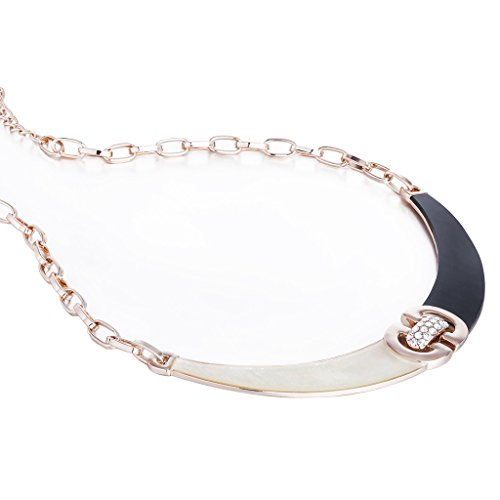 Snake Eyes Costumes Replica (Janeo Cats Eye Stone Pendant Necklace & Real Mother Of Pearl Inlaid, Swarovski Crystals - Rose Gold/Black, Janeo Jewellery)