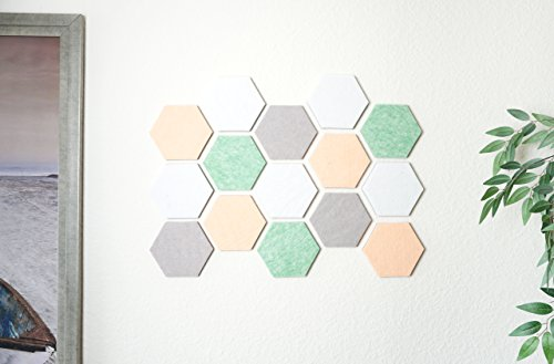 Hexagon Tile Bulletin Board/Memo Board for Wall, Pastel Tones - 15 Felt Tiles (6