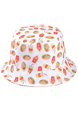 Reg Patterned - Pink Queen® Personality Burger Fries Cola Patterned Bucket Hat White