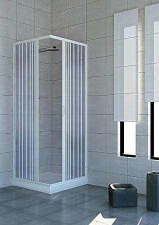 Mampara de baño 90 x 90 cabina angular con anillo de baño de pvc ...