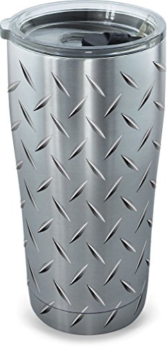 Diamond Tumbler - Tervis 1277991 Diamond Plate Stainless Steel Tumbler with Clear and Black Hammer Lid 20oz, Silver