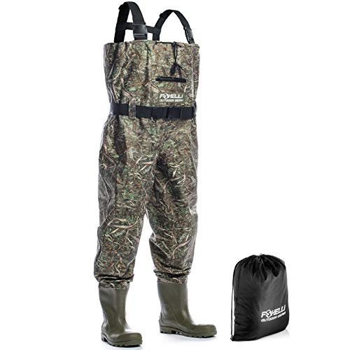 (Foxelli Nylon Chest Waders – Camo Fishing Waders for Men with Boots - Use for Fly Fishing, Duck Hunting, Emergency Flooding – 100% Waterproof, Carrying Bag Included)