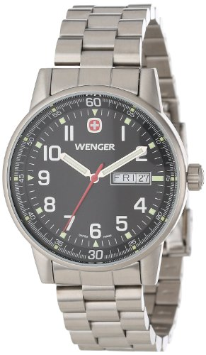 Wenger Commando Day-Date Watch, Mens Black Dial w/ Stainless Steel Bracelet 70163