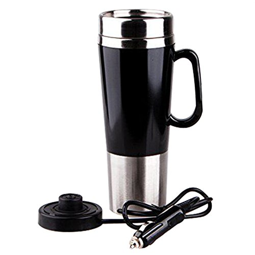 (400ml Vacuum Insulated Stainless Steel Travel Mug Car Cup with charger car Boiling Mug Electric Kettle Boiling Vehicle Thermos DC12V Heating Cup Applicable to the Boiling Water Coffee Milk and Tea)
