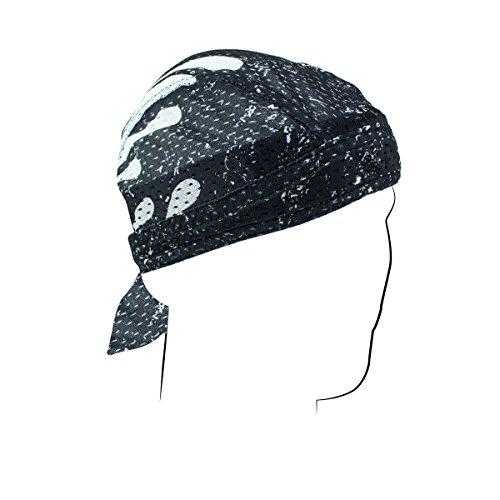 (Black White Pinstripe Flames Vented Head Wrap Biker Hat Durag Skull Cap Terry Cloth Sweatband)