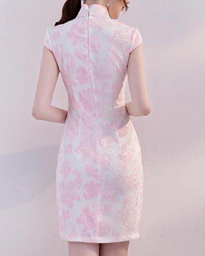 Coolred-femmes Col Floral Fendu Robe De Soirée Cocktail En Soirée Rose Chinois